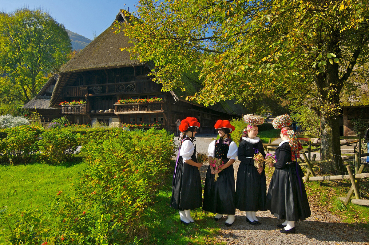 young women wearing the traditional costumes of Gutach