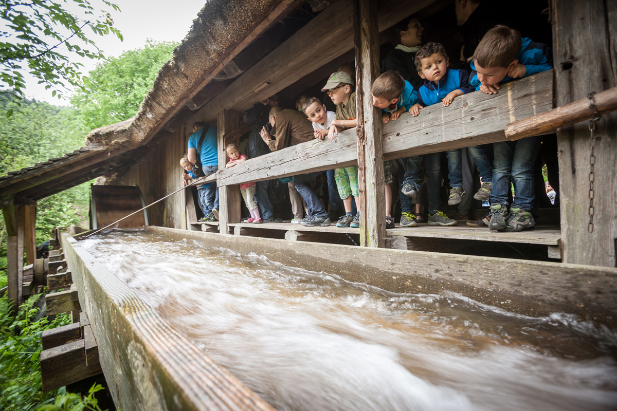 Children watching the water run through the channel