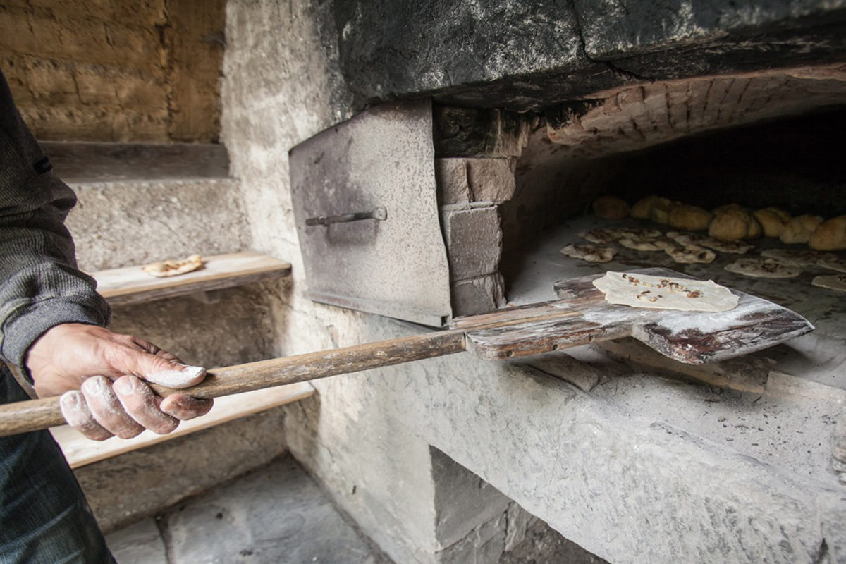 Baking in the historic oven