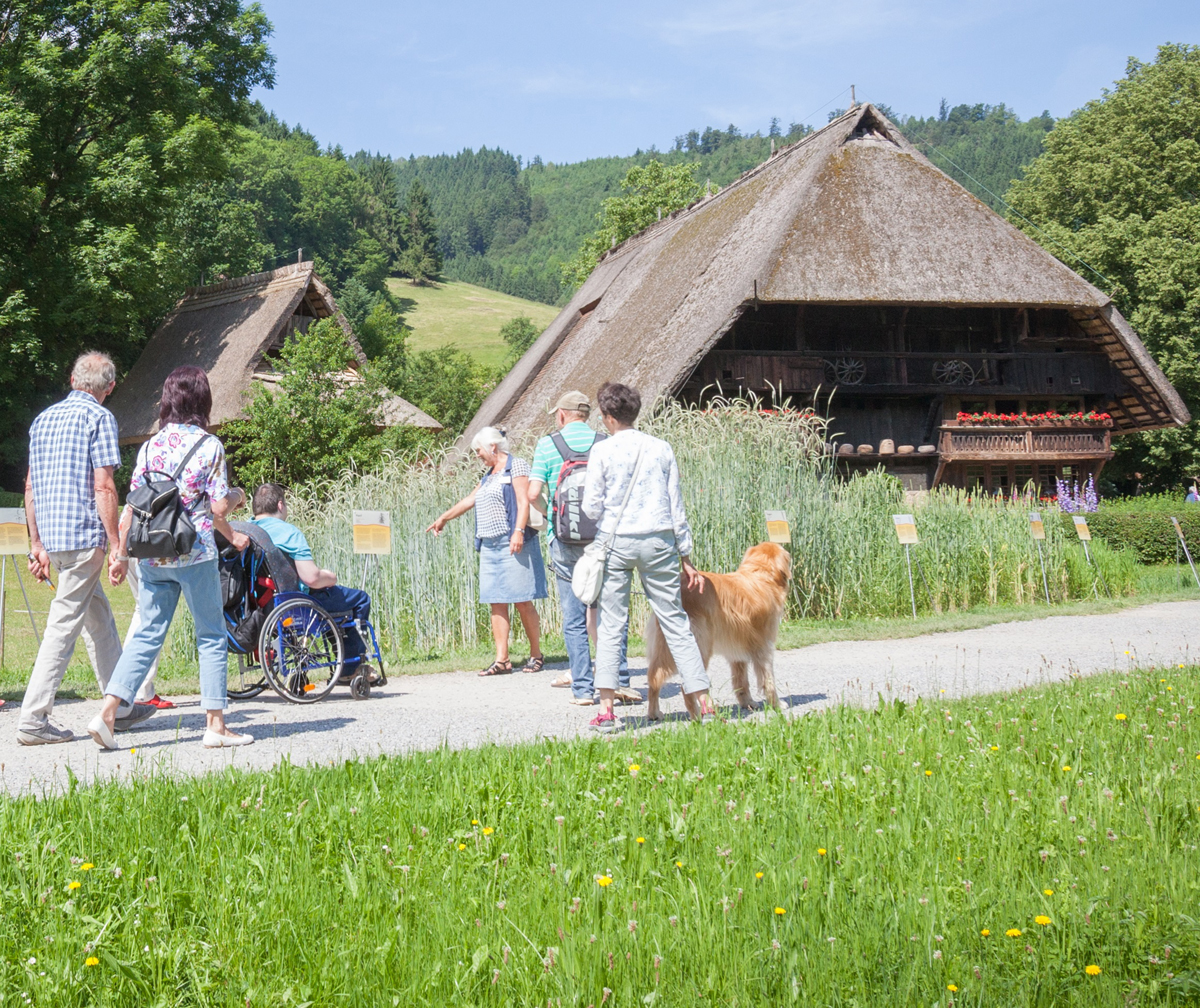 Visitor group in front of the Vogtsbauernhof